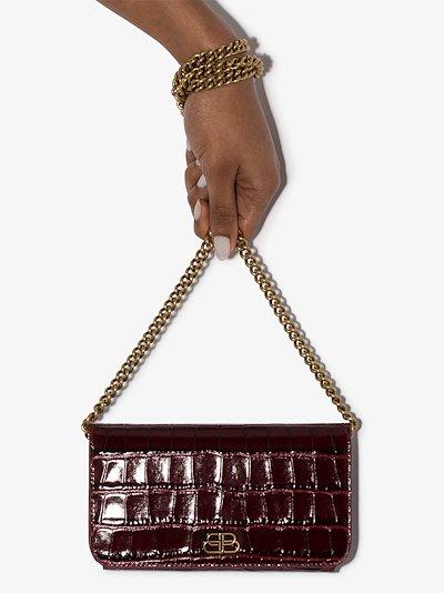 red BB mock croc phone bag