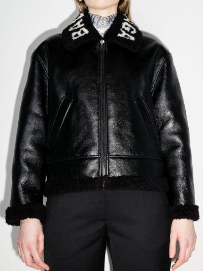 shearling logo collar leather jacket