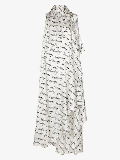 Stola scribble logo silk gown