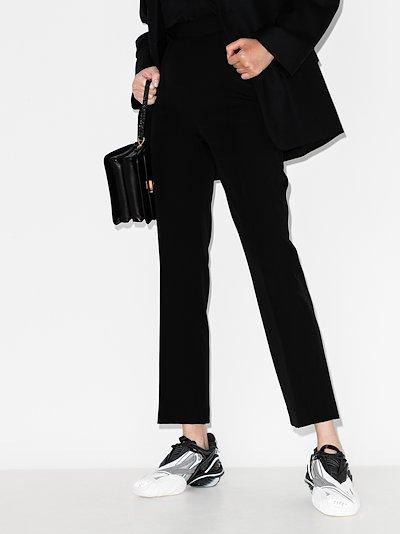 straight leg wool twill trousers