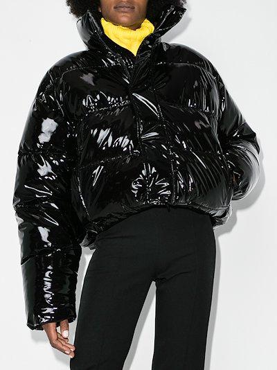 Uniform glossy puffer jacket