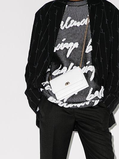 white Sharp leather shoulder bag