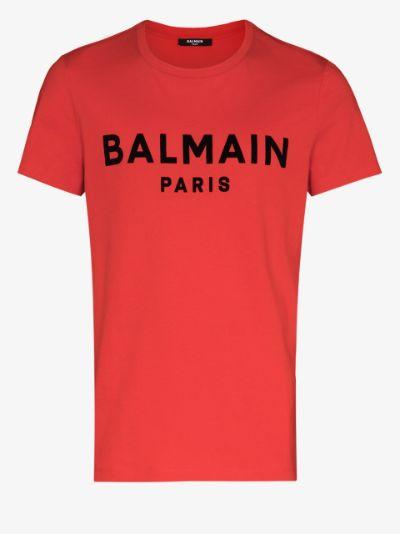 Balmain logo flocked T-shirt
