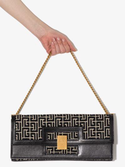 black 1945 Large jacquard and leather shoulder bag