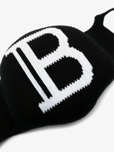 black and white B logo face mask set