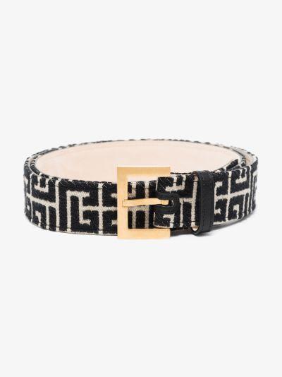 black and white monogram belt