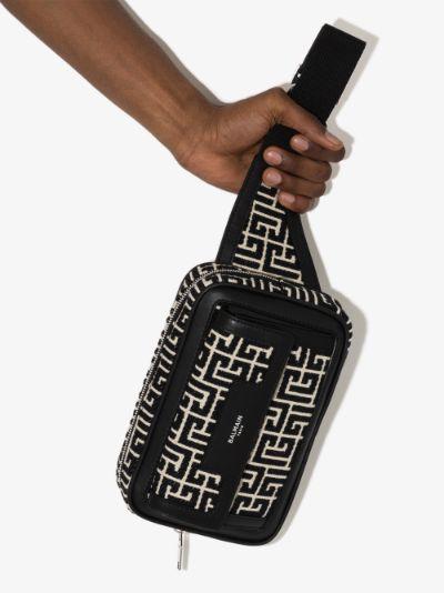 black and white monogram cross body bag