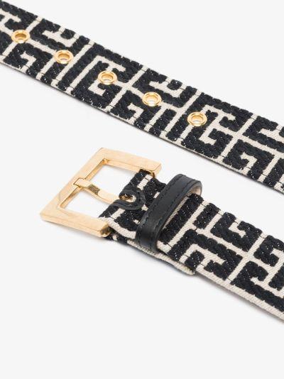 black and white monogram jacquard belt