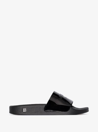 black Calypso patent sandals