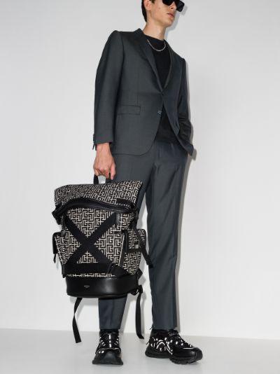 black monogram jacquard cotton backpack