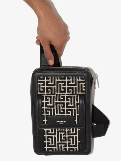 Black monogram jacquard cross body bag