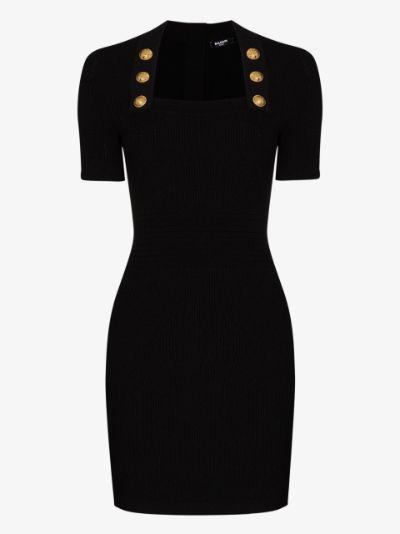 Button Detail Mini Dress
