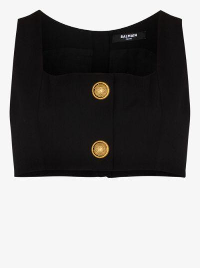 buttoned sleeveless crop top