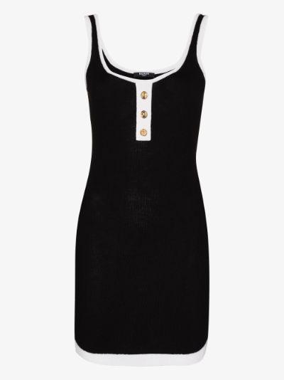 buttoned sleeveless mini dress