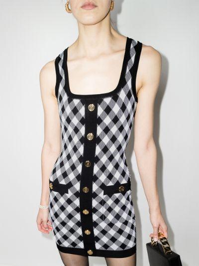 chequered mini dress