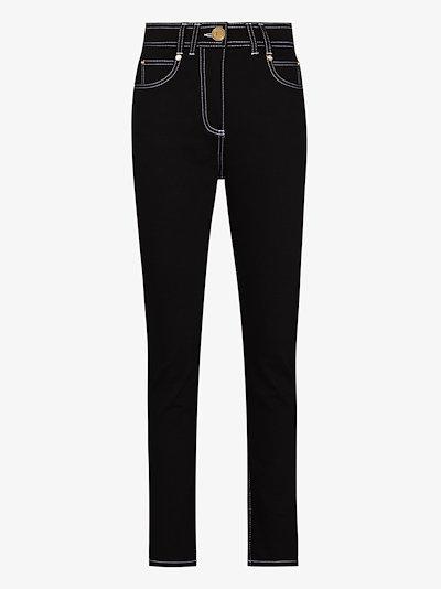 contrast topstitch skinny jeans