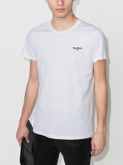Crew neck flocked logo T-shirt
