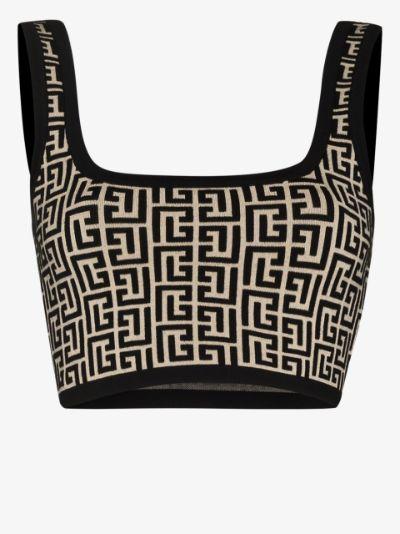 cropped monogram jacquard vest top