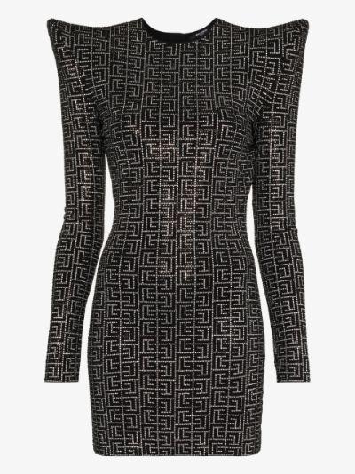 crystal-embellished structured-shoulder dress