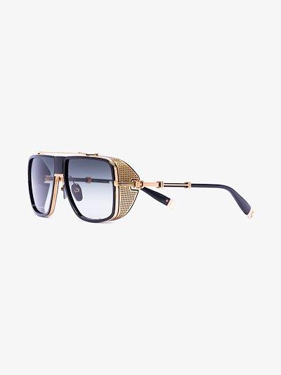black and gold tone Aviator sunglasses