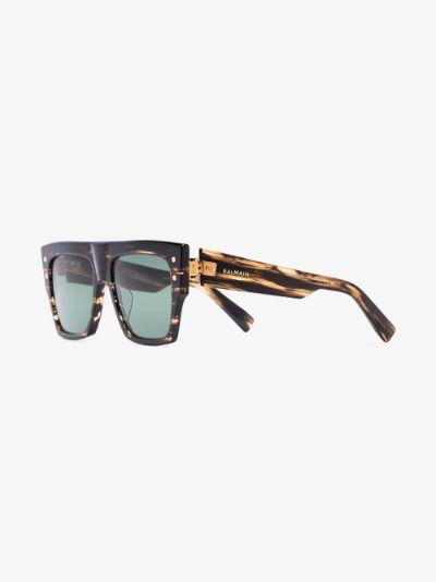 brown B-I tortoiseshell square sunglasses