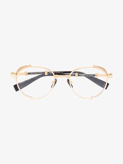 gold tone Brigade-I round glasses