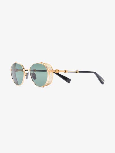 gold tone Brigade round sunglasses