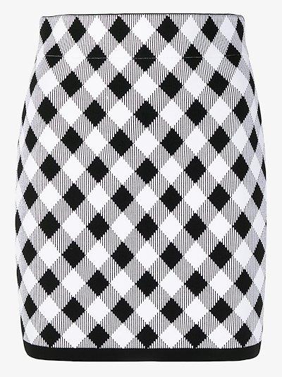gingham check mini skirt