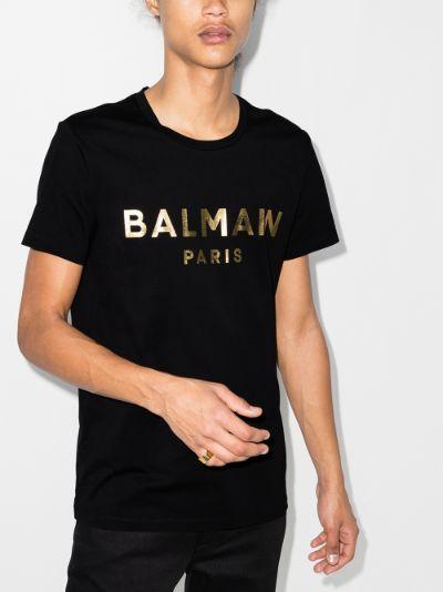 gold foil logo cotton T-shirt