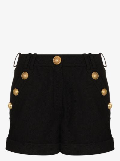 high waist button shorts