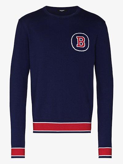 logo intarsia varsity sweater
