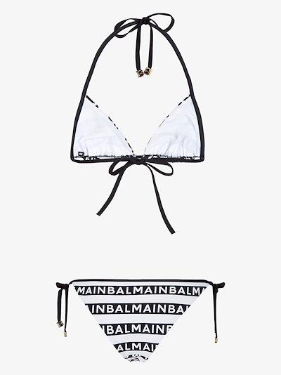 logo stripe triangle bikini
