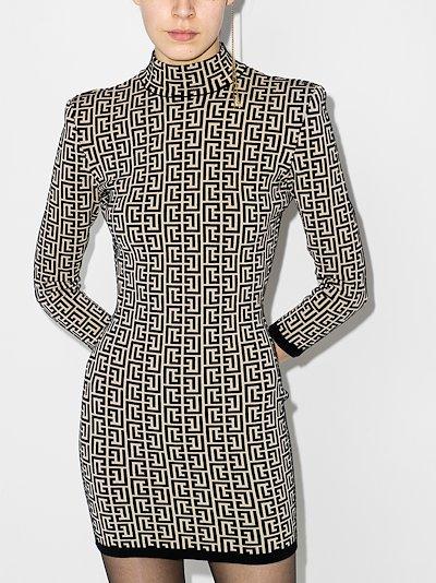 monogram jacquard mini dress