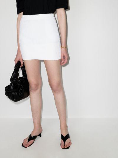 ribbed knit mini skirt