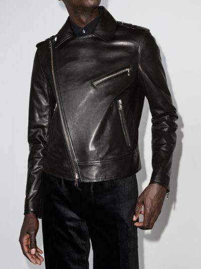 silver zip-detail biker jacket