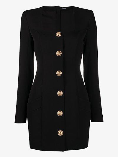 square neck button mini dress