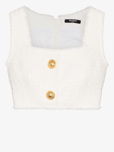 Square Neck tweed Bralette Top