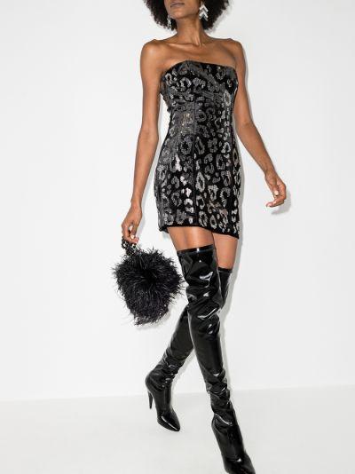 X Browns 50 leopard print bandeau mini dress
