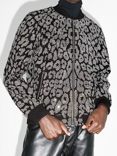 X Browns 50 leopard rhinestone bomber jacket