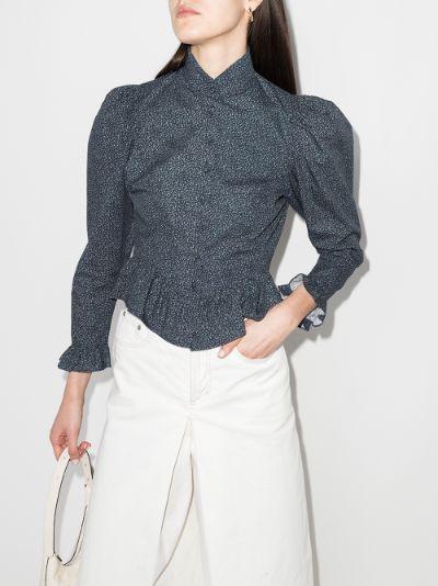 Grace ruffled floral print cotton blouse