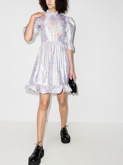 Prairie metallic ruffled dress