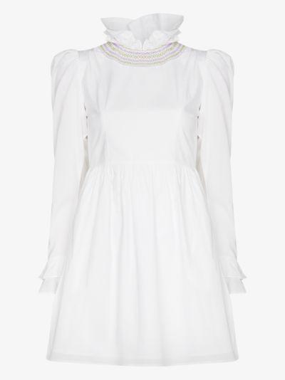 smocked cotton mini dress
