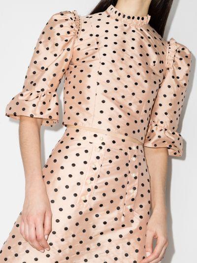 Spring Prairie polka dot silk blouse