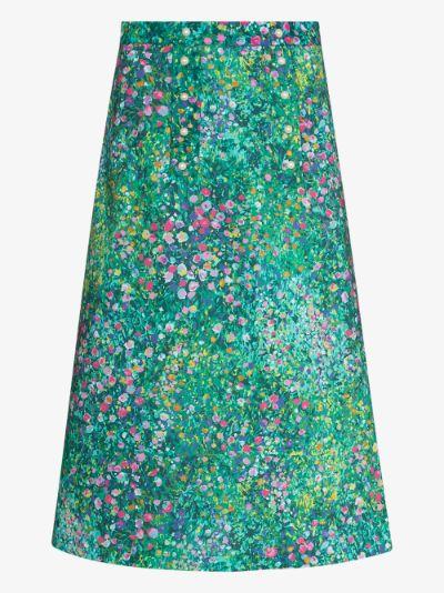 Suffragette floral print midi skirt