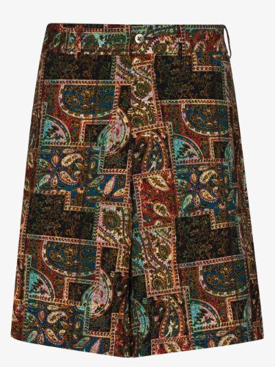 patchwork paisley print Bermuda shorts