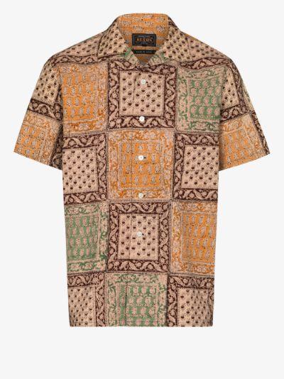 patchwork print short sleeve shirt