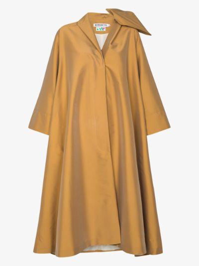 Christian bow detail cape coat