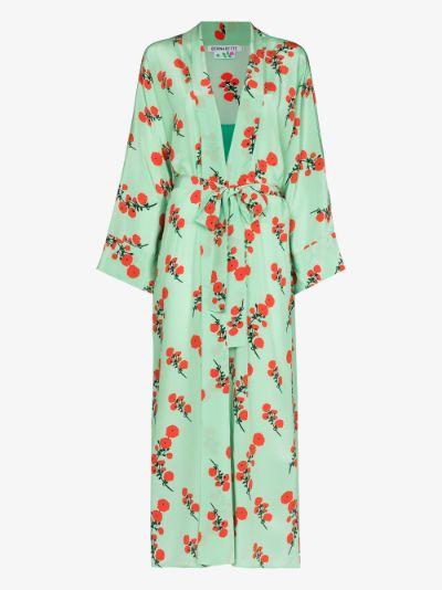 Peignoir floral silk robe
