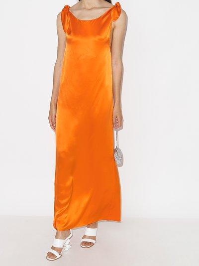 Wendy tie shoulder silk maxi dress