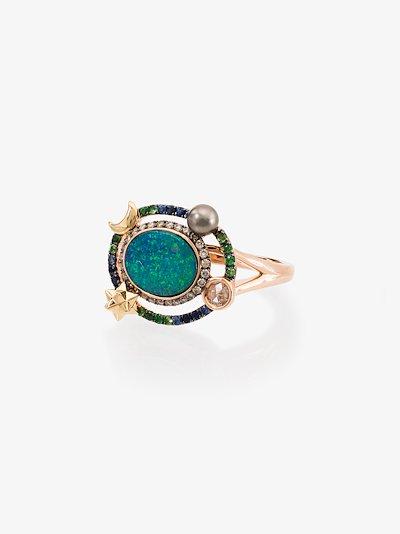 18K rose and yellow gold Galaxy opal diamond ring